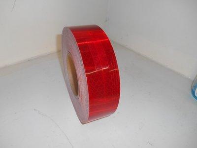 Reflectie tape Rood, 50mm x 50mtr. e-Keur.
