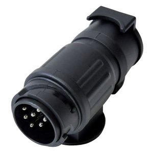 Adapter van 13 naar 7 polig kunststof zwart.