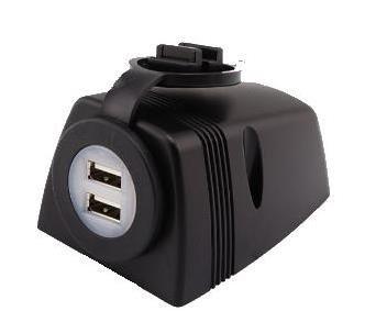 - USB stekkerdoos opbouw, 2x aansluitingen,  12V