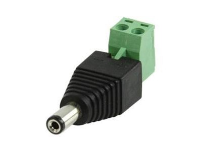 2- Polige stekker, schroefaansluiting, 12 Volt, 5,5mm.