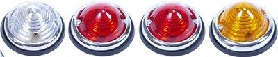 Achterlicht set Rechts, Verlichting-Rem-RAW-Achteruitr. rond 70 mm, Rood, Chroom.