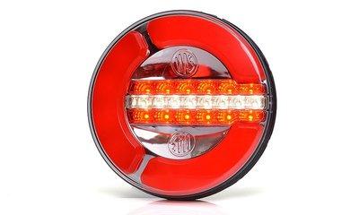 ø 142 mm Achteruitrij- Achterlicht- Mistlamp, Neonefect,  LED Li+Re. 3-functies, kabel 2Mtr.