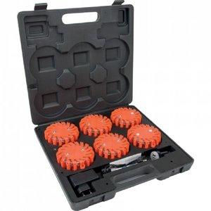 Waarschuwingsflitser LED set, 6 stuks in koffer