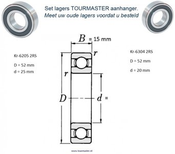 1- TOURMASTER Lager set 62052RS + 63042RS Groefkogellager.