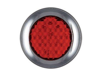 ø 145 mm Achterlicht + Remlicht rond Chroomrand Rood LED
