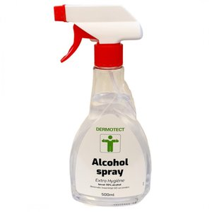 1- Alcoholspray Dermotect, Extra Hygiëne 500 ml.